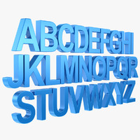 3d alphabet letter subdivided model