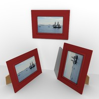wooden photo frame 3d obj