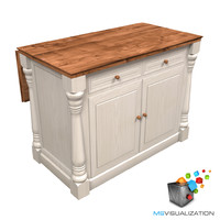 colonial kitchen island table 3d model