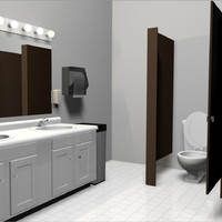 3d model bathroom set public restroom