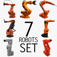 3d 7 industrial robots set model