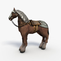 armored horse saddle 3d