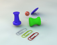 3d thumbtacks paper clips