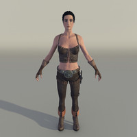 female fighter 3d model