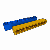 piece lego brick 1x8 3d 3ds