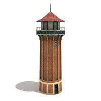 low-poly water tower 3d model