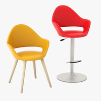 soft-l armchair soft-sg bar stool 3d 3ds