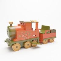 3d colorful wood locomotive toy model
