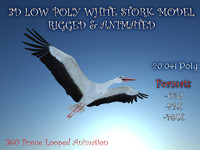 3d white stork rigged animation flying model