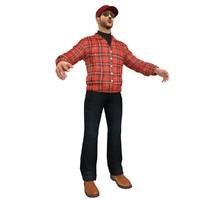3d model truck driver man