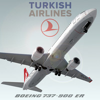 boeing 737-900 er turkish 3d 3ds
