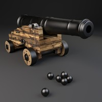 18th naval cannon 3d obj