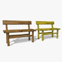 wooden benches 3ds