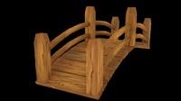 wooden bridge gardens parks 3d model