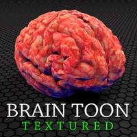 3d model brain toon