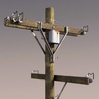 Telephone Pole Low Poly 3d Model