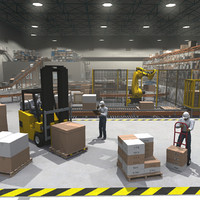 3dsmax cargo warehouse robot