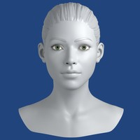 realistic young woman head 3d model