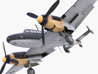 3ds max bf-110 german bomber 1
