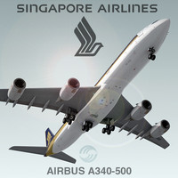 airbus a340-500 singapore airlines 3d max