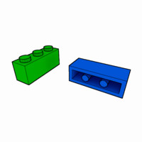 piece lego brick 1x3 3d 3ds