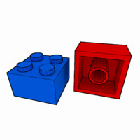 piece lego brick 2x2 3d model
