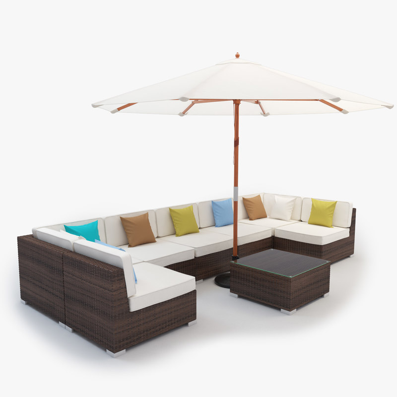 Furniture set rattan 3d max for Outdoor furniture 3d max
