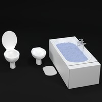 3d bathroom bathtub water
