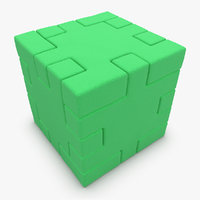 realistic happy cube green 3d model