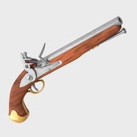 antique pistol 1700 guns c4d