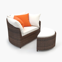 Outdoor Lounge Rattan Chair with ottoman