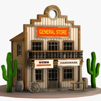 3ds cartoon western building