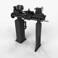 3d old lathe machine model