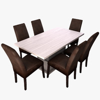 dining table chair wood 3d model