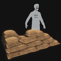 sandbags mg post 3d model