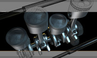 3d model pistons cylinder engine