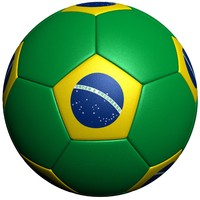 3d model brazil soccer ball flag