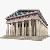 greek temple obj