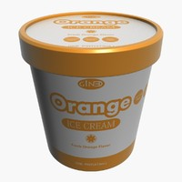 3d ice cream pot orange model