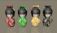 3d c4d kokeshi dolls