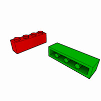 3d piece lego brick 1x4 model