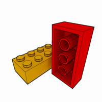 3d model of piece lego brick 2x4