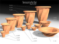 3d tiered scallop terracotta pots