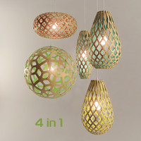 3d model set coral pendant lamps