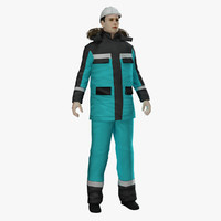 rigged oil refinery worker 3d model