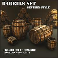 3d set barrels model