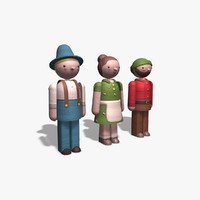 3d model wooden toy characters