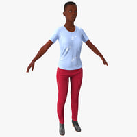 Young Black Female Casual Clothes Rigged
