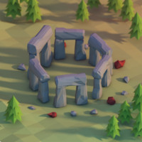 3d model of stone stonehenge