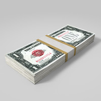 3d model dollar bill wad